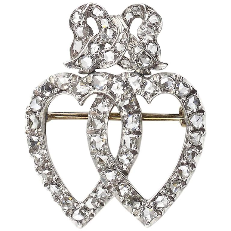 Diamond Double Heart and Bow Brooch