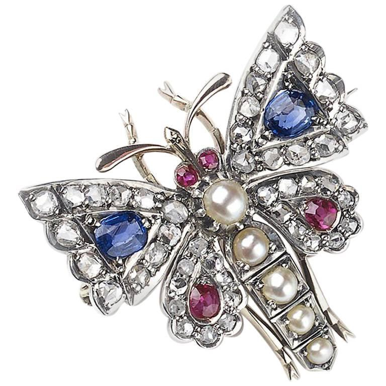 Antique Gem Set Butterfly Brooch