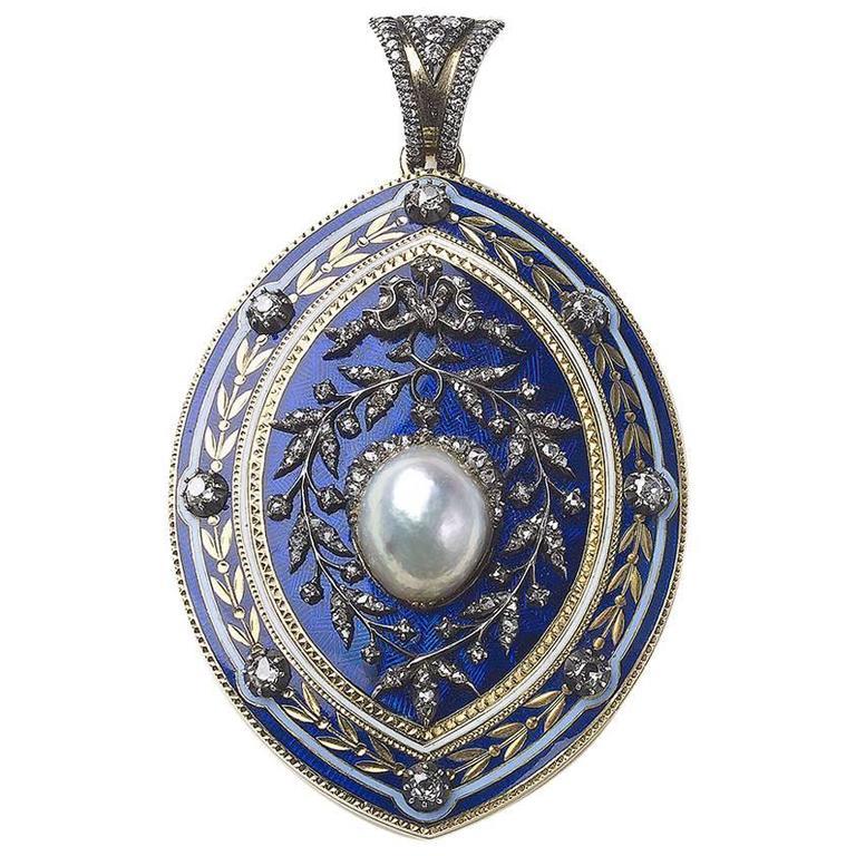 Blue Enamel Pearl Diamond Pendant
