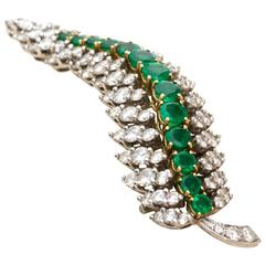 1960s Cartier Diamond Emerald Platinum Brooch