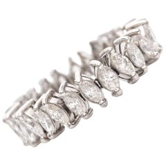 1950s 3 Carat Marquise Diamond Platinum Eternity Band Ring