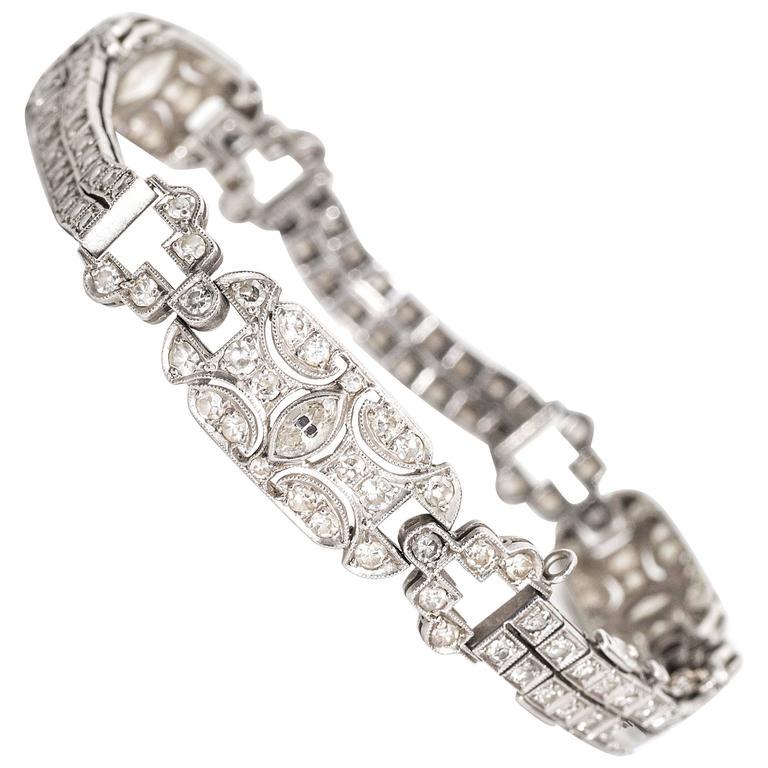 1905 Art Nouveau 3.5 Carat Diamond Platinum Bracelet