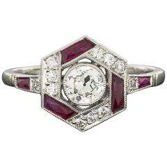 Geometric Old European Diamond Ruby Platinum Hexagon Halo Engagement Ring