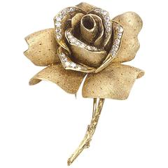 Mellerio Diamond Gold Rose Brooch