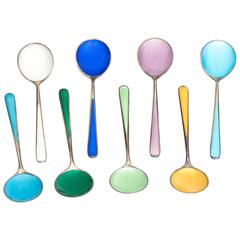 1930s Colorful Enamel and Sterling Silver Scandinavian Teaspoon Set