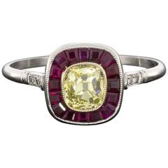 Classic Old Mine Cut Fancy Yellow Diamond Ruby Platinum Halo Engagement Ring