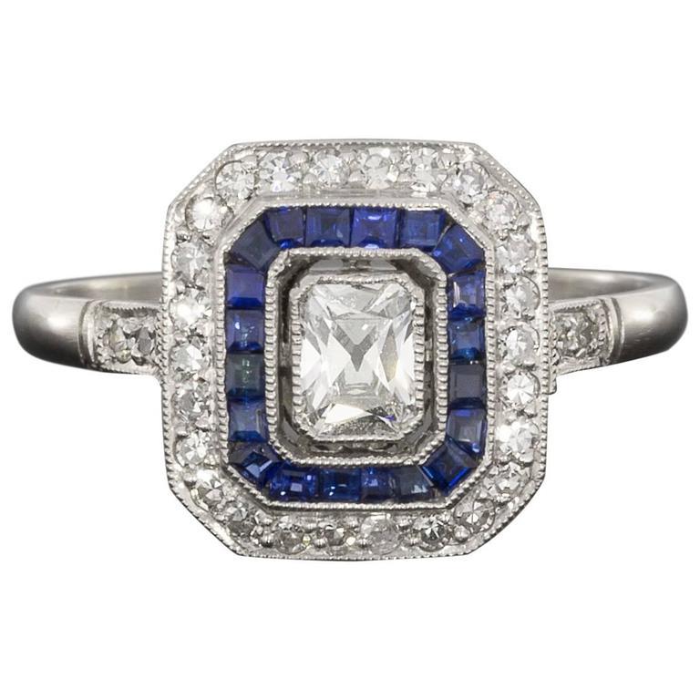 sapphire radiant diamond platinum double halo engagement