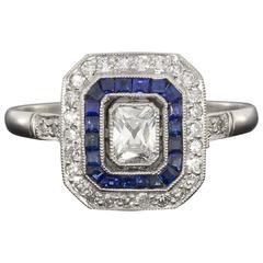 Sapphire Radiant Diamond Platinum Double Halo Engagement Ring