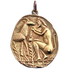 20th Century Yellow Gold Pendant Medallion