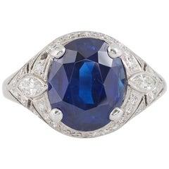AGL Certified 5.19 Carat Burma Sapphire Diamond Ring