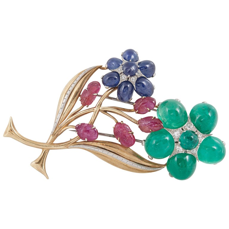 Retro Cabochon Emerald Ruby Sapphire Flower Pin For Sale