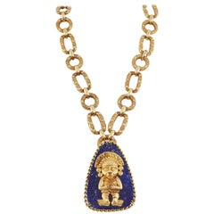 1970 Era Gold Mayan God Lapis Lazuli Gold Chain Necklace