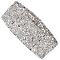 37.00 Carat Art Deco Diamond Platinum Bracelet