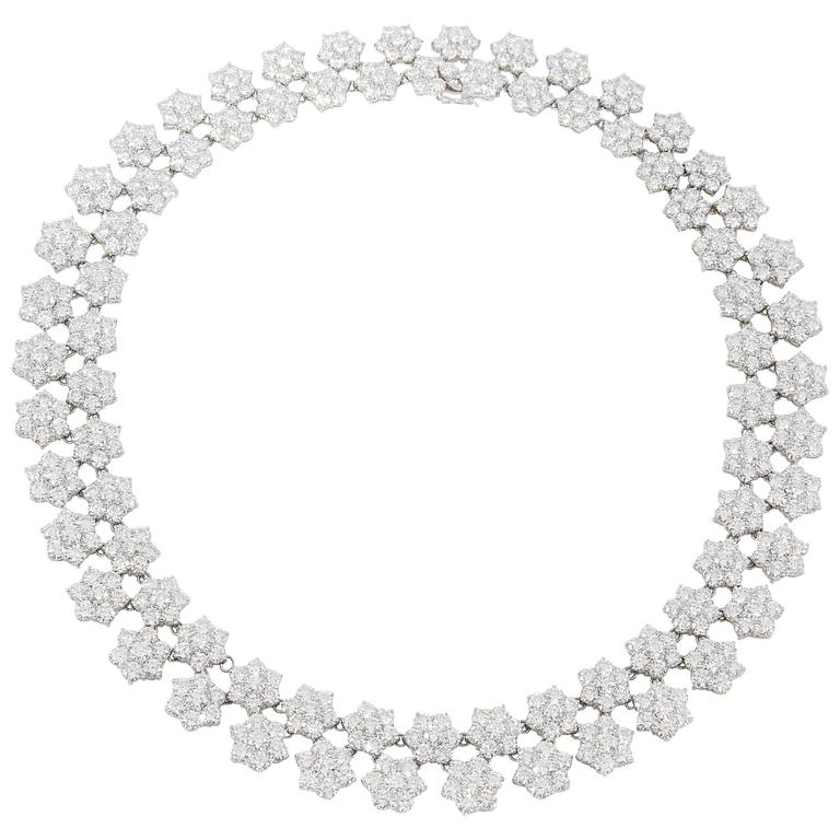 Gorgeous Diamond Platinum Cluster Flower Necklace For Sale