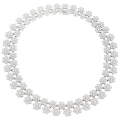 Gorgeous Diamond Platinum Cluster Flower Necklace