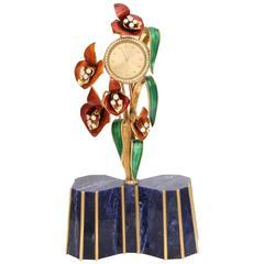 Miniature Lapis Enamel Diamond Gold Floral Clock