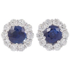 Sapphire and Diamond Studs Earrings 1.00 Carat