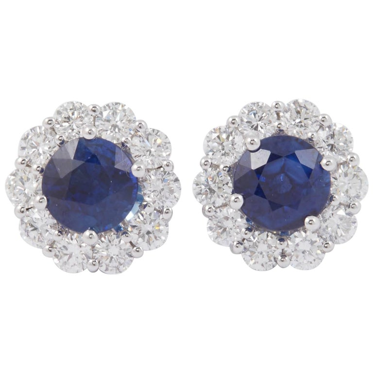 Sapphire and Diamond Studs Earrings 1.00 Carat