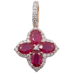 Ruby Diamond Rose Gold Pendant
