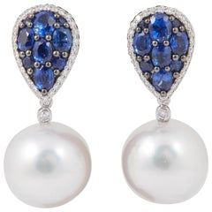 South Sea Pearl and Sapphire Cluster Dangle Earrings