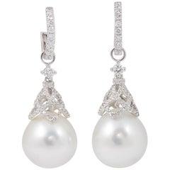 HARBOR D. South Sea Pearls Diamonds White Gold Hoop Dangle Bell Shape Earrings
