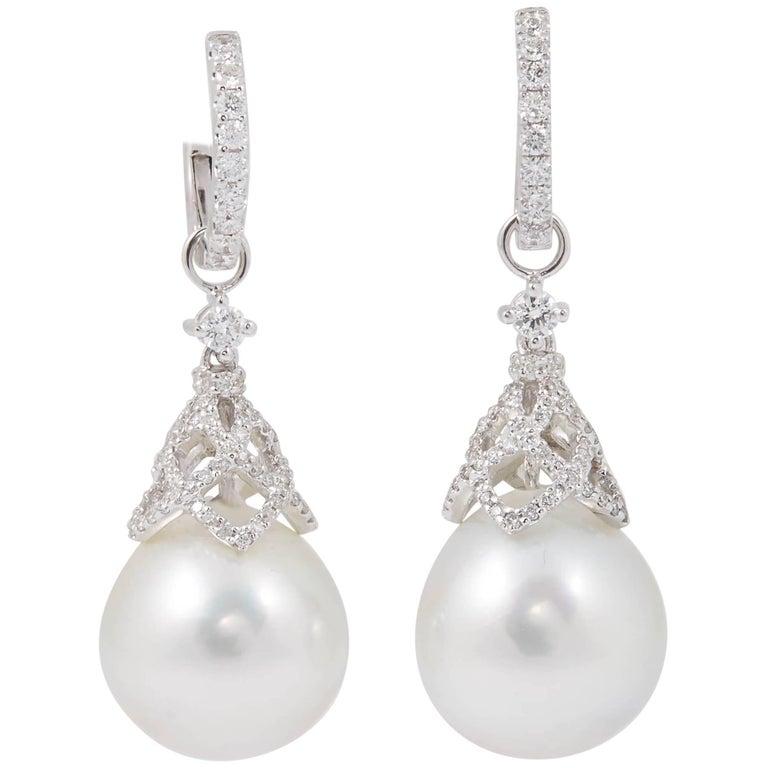 HARBOR D. South Sea Pearls Diamonds White Gold Hoop Dangle Bell Shape Earrings  For Sale