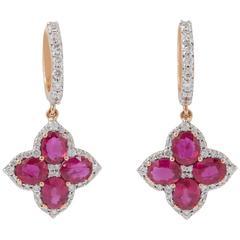 Ruby Diamond Rose Gold Dangle Earrings