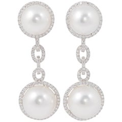South Sea Pearl and Diamond Dangle Link Earrings