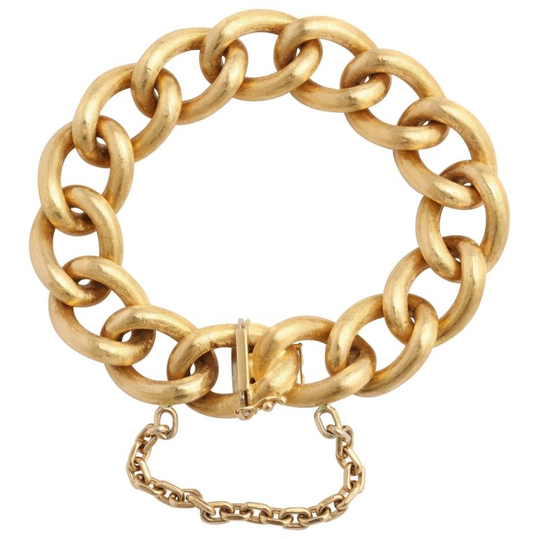 Italian Brushed Gold Cable Link Bracelet at 1stdibs b23000a121d4
