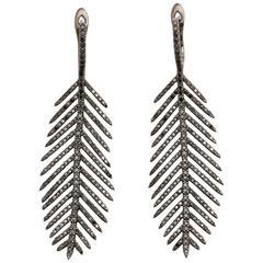 Black Diamond Feather Pierced Earrings