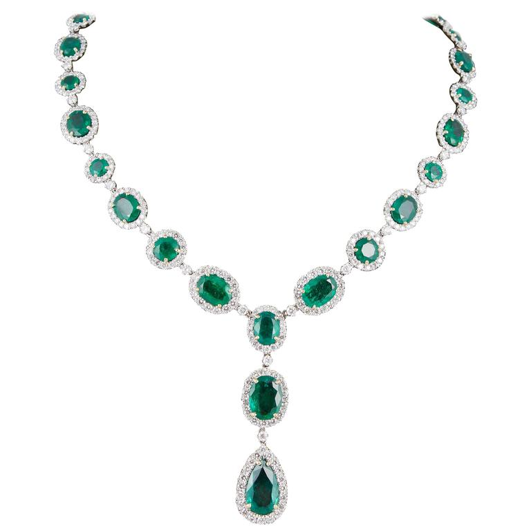 Emerald Diamond White Gold Necklace