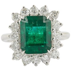 Green Emerald and Diamond Cocktail Ring