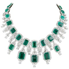 Important Emerald and Diamond Drop Necklace