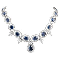 Grand Sapphire Diamond white gold Necklace