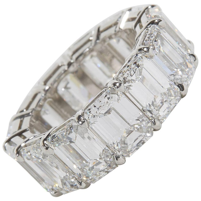 Important GIA Emerald Cut Diamond Eternity Band