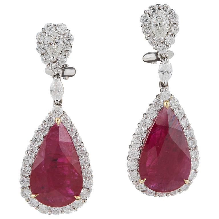 Pear Shaped Ruby Diamond Gold Earrings