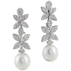 Classic Diamond Pearl White Gold Drop Earrings