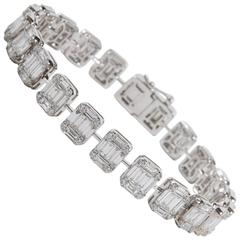 Emerald Cut Diamond White Gold Tennis Bracelet Illusion Set