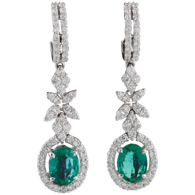 Green Emerald and Diamond Drop Earrings