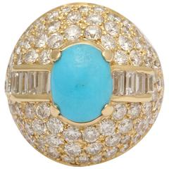 1980s Elegant Cabochon Turquoise Diamond Gold Large Cocktail Ring