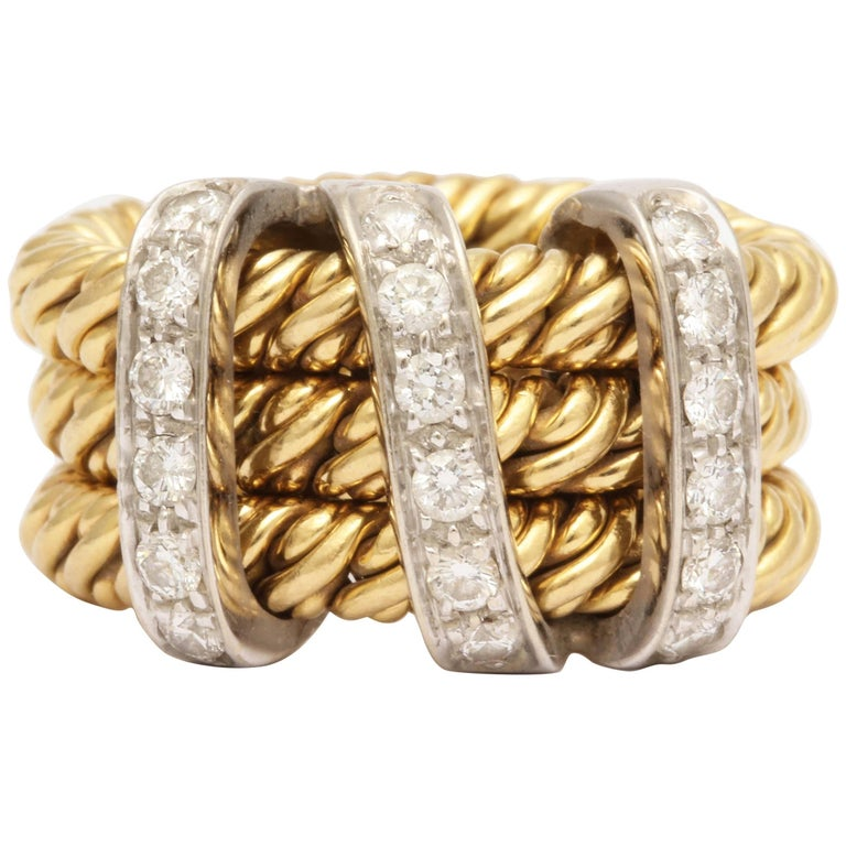 1990s Pomellato Triple Knotted Flexible Gold with Diamonds Ridged Band Ring
