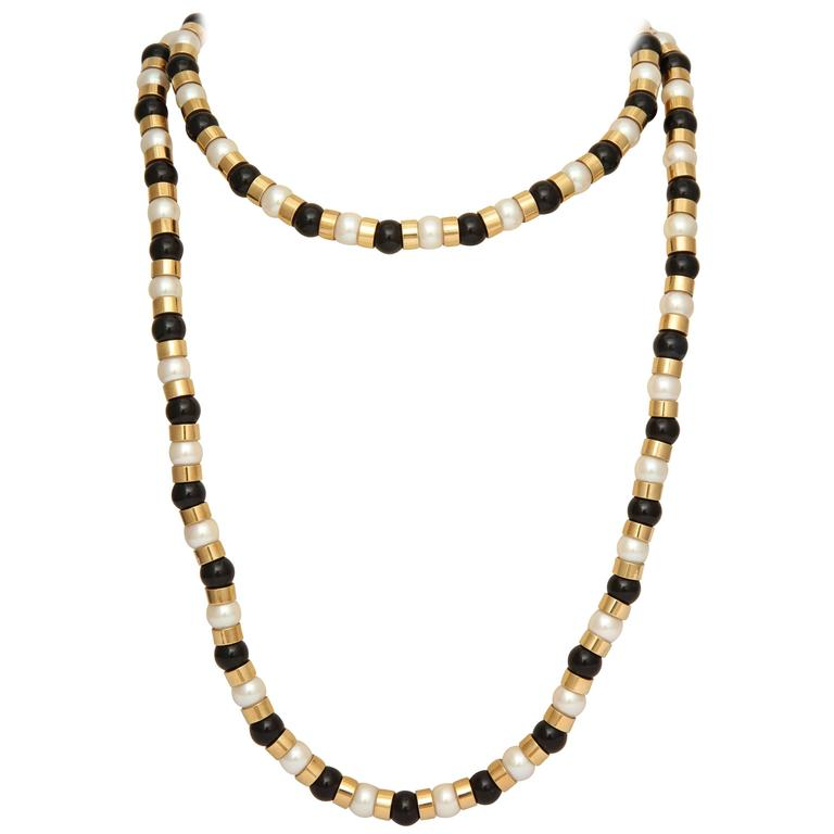 1990s Chanel Paris Long Onyx Pearl Gold Classic Colors Necklace