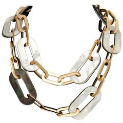 Vhernier Dark and White Mother-of-Pearl Oblong Shaped Gold Link Necklace