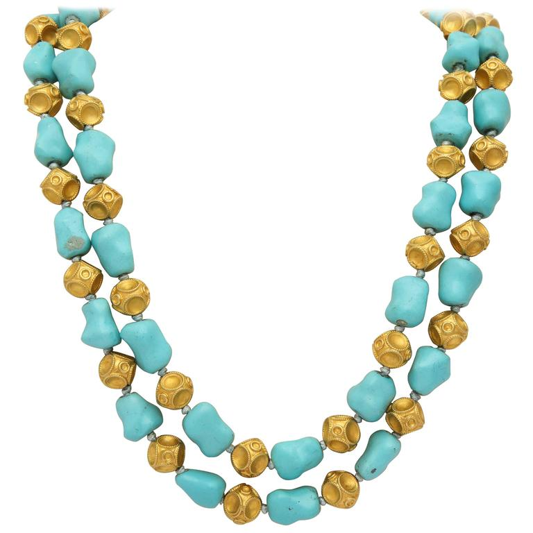 b15ed66cf1a6 1960s Nugget Shape Turquoises with Alternating Crater Design Gold Ball Chain  For Sale