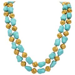 1960s Nugget Shape Turquoises with Alternating Crater Design Gold Ball Chain