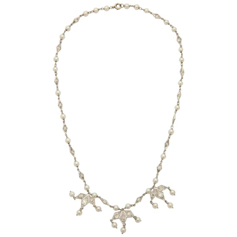 Art Deco Delicate Pearl Diamond Platinum Triple Pendant Necklace