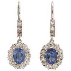 Art Deco Delicate Crown Set Sapphire Diamond Platinum Earrings