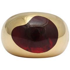 Pomellato Unisex Bold Artist Pallet Shaped Cabochon Garnet Gold Ring