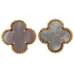 Van Cleef & Arpels Alhambra Mother-of-Pearl Gold Earrings