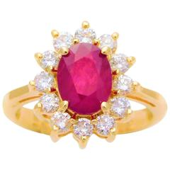 Stunning Ruby Diamond Gold Cocktail Ring